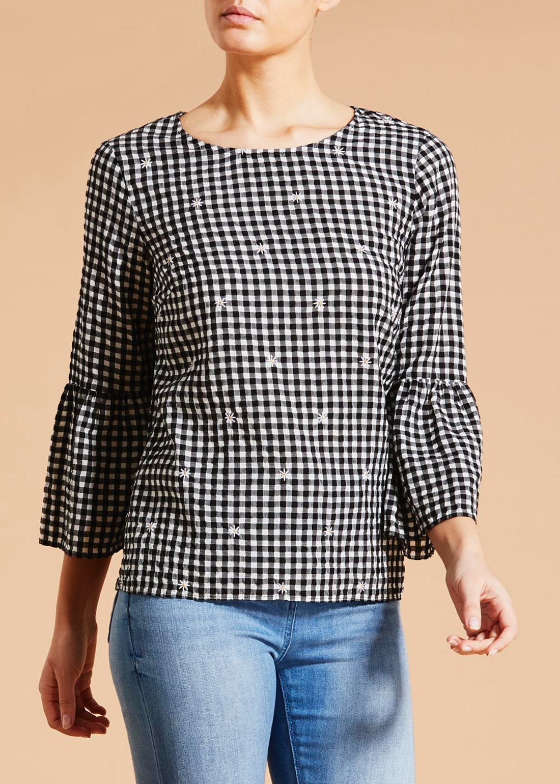 Falmer Bow Back Gingham Blouse