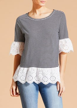 Falmer Schiffley Lace Hem Top