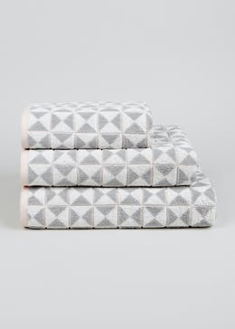100% Cotton Geometric Towels