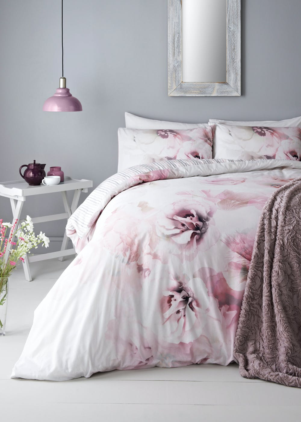 100 Cotton Digital Floral Duvet Cover Pink Matalan