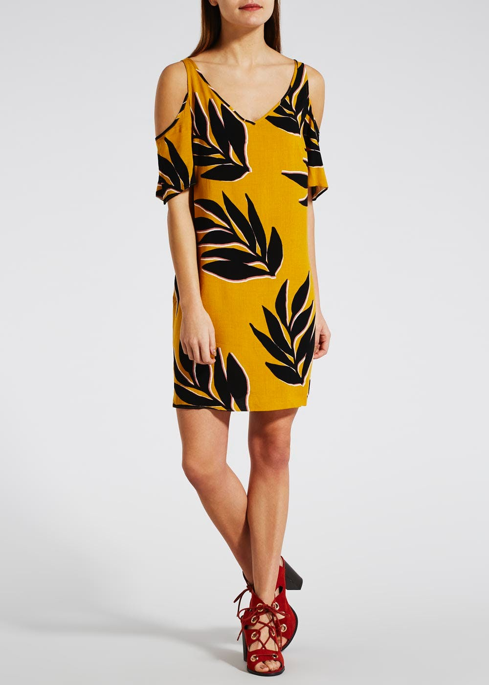 Palm Print Cold Shoulder Dress – Yellow – Matalan