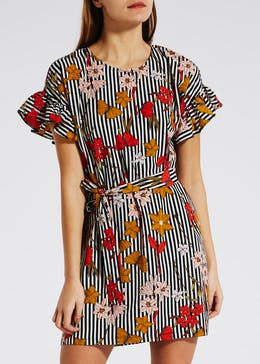 Floral Butterfly Frill Sleeve Dress