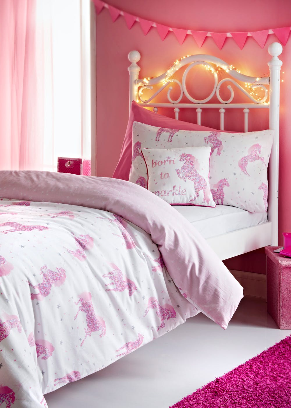 Kids 100 Cotton Starlight The Unicorn Duvet Cover Pink Matalan