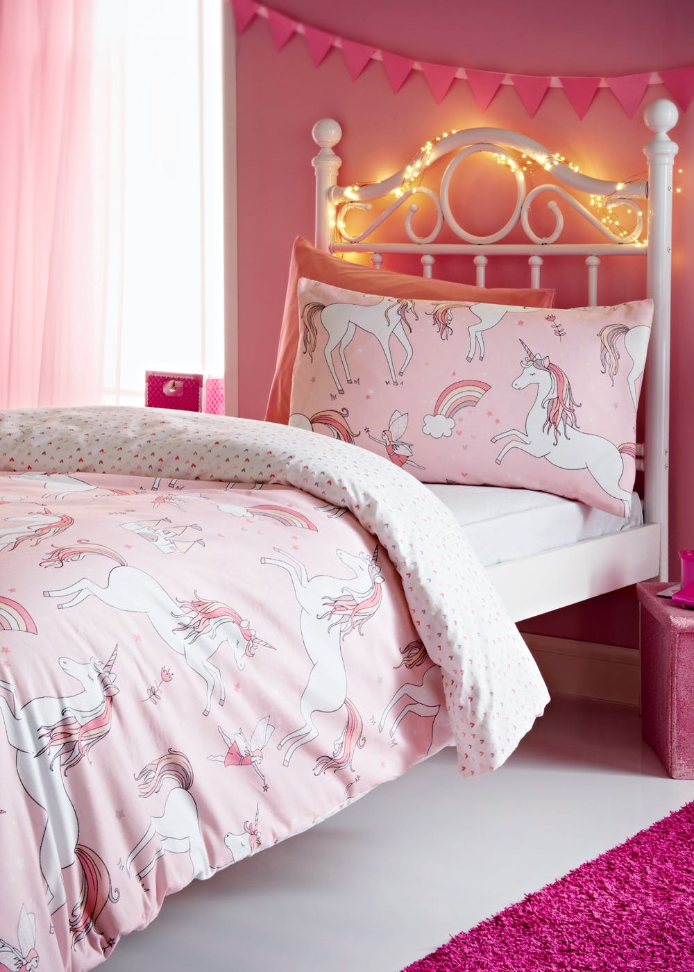 Kids 100 Cotton Skylar The Unicorn Duvet Cover Pink