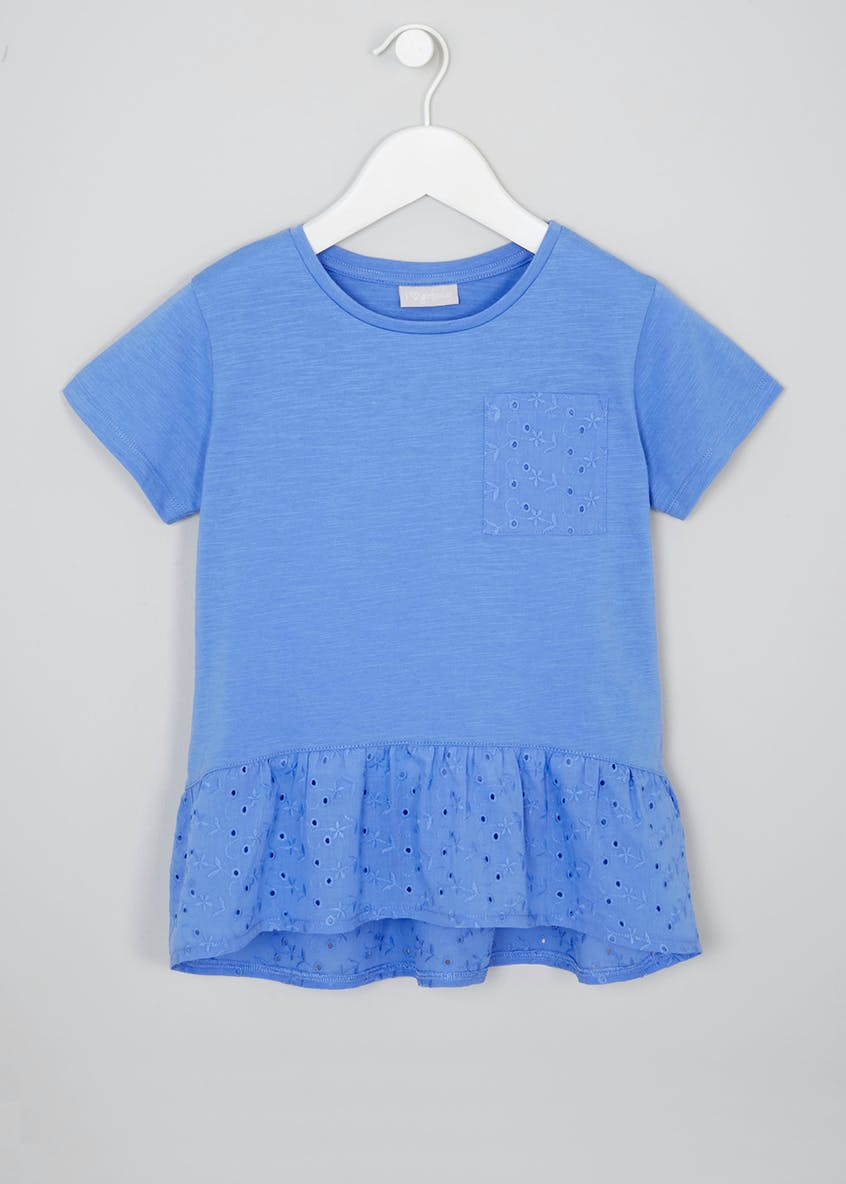 Girls Broderie Anglaise Pocket T-Shirt (4-13yrs)