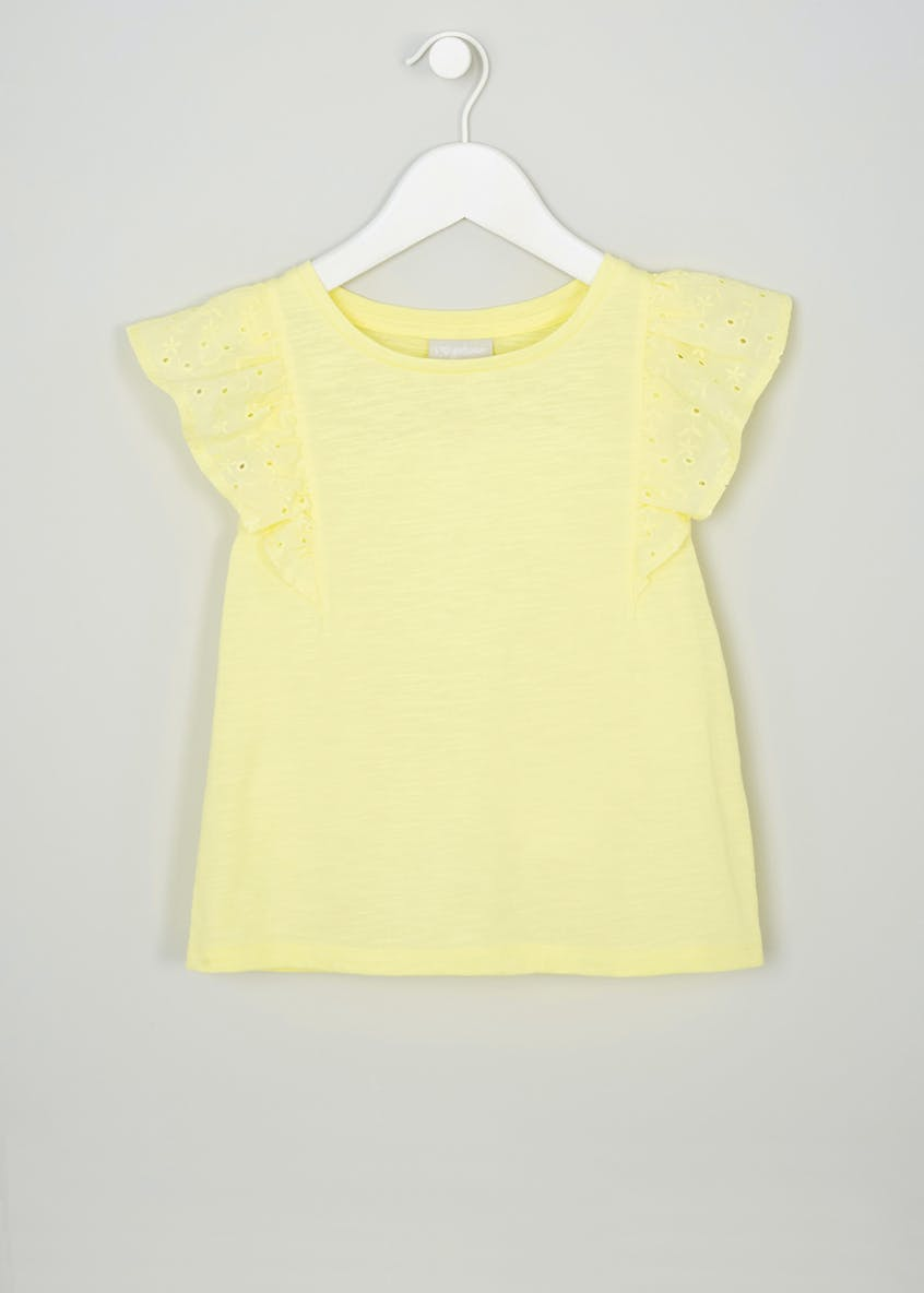 Girls Broderie Anglaise Frill Sleeve T-Shirt (4-13yrs)