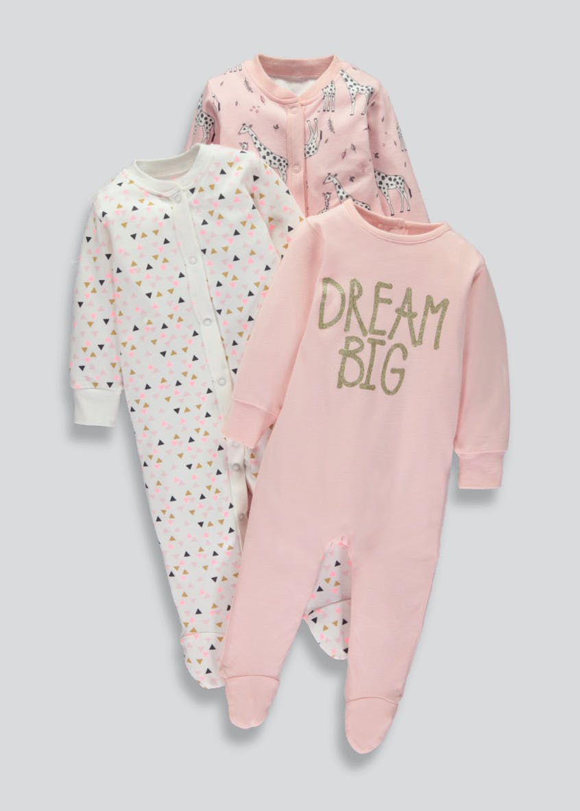 Unisex 3 Pack Sleepsuits (Tiny Baby-18mths)