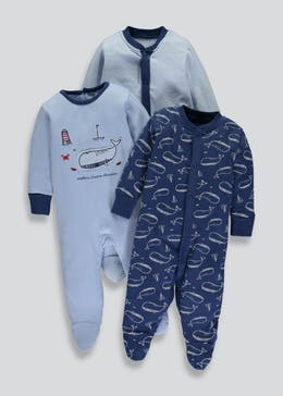 Unisex 3 Pack Nautical Sleepsuits (Tiny Baby-18mths)