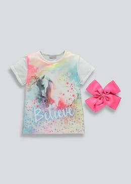 Girls Unicorn T-Shirt & Bow (4-13yrs)