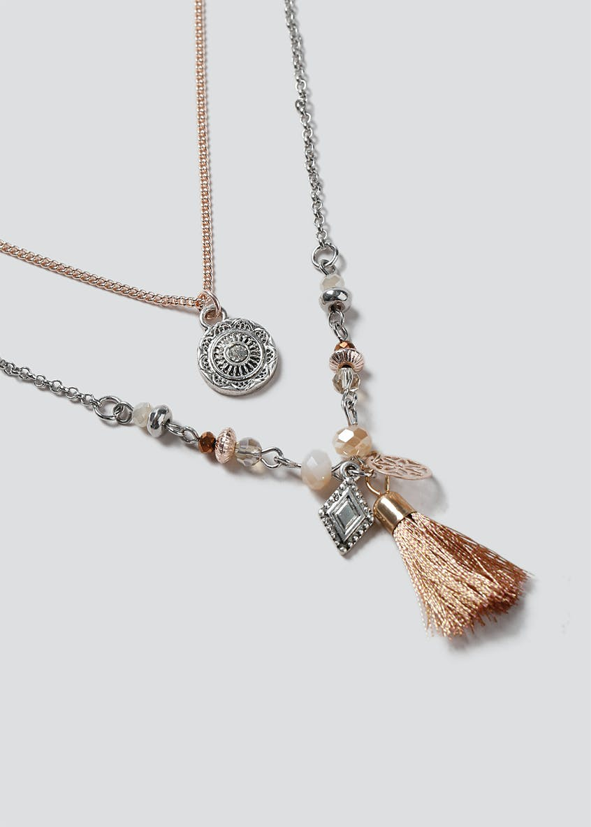 Mixed Beaded And Tassel Necklace