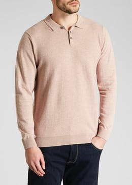 Textured Long Sleeve Polo Shirt