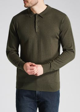 Wallis Long Sleeve Wool Knit Polo Shirt