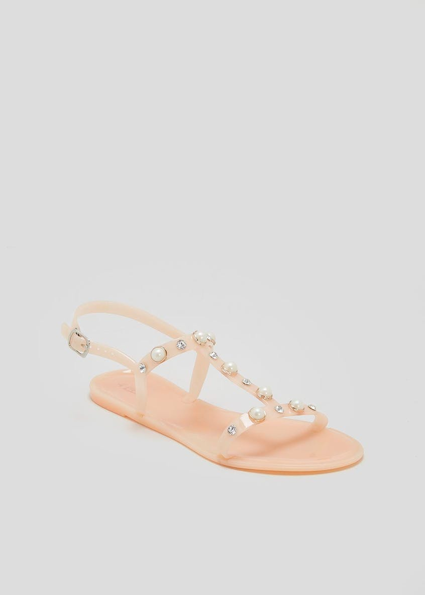 Pearl Detail Jelly Sandals