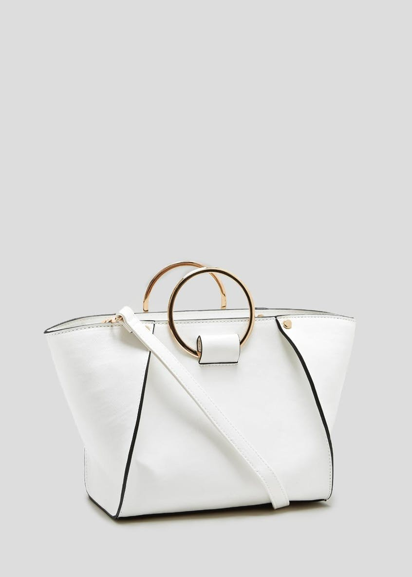 Ring Handle Seamed Tote Bag