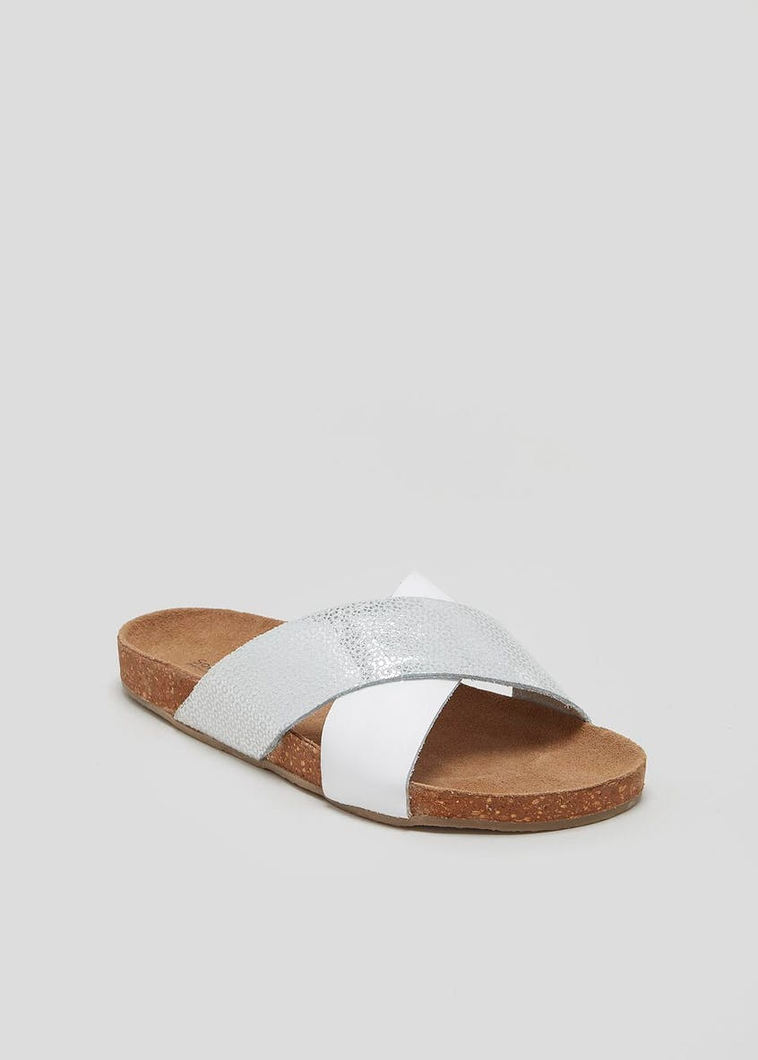 Soleflex Real Leather Cross-Strap Footbed Sandals
