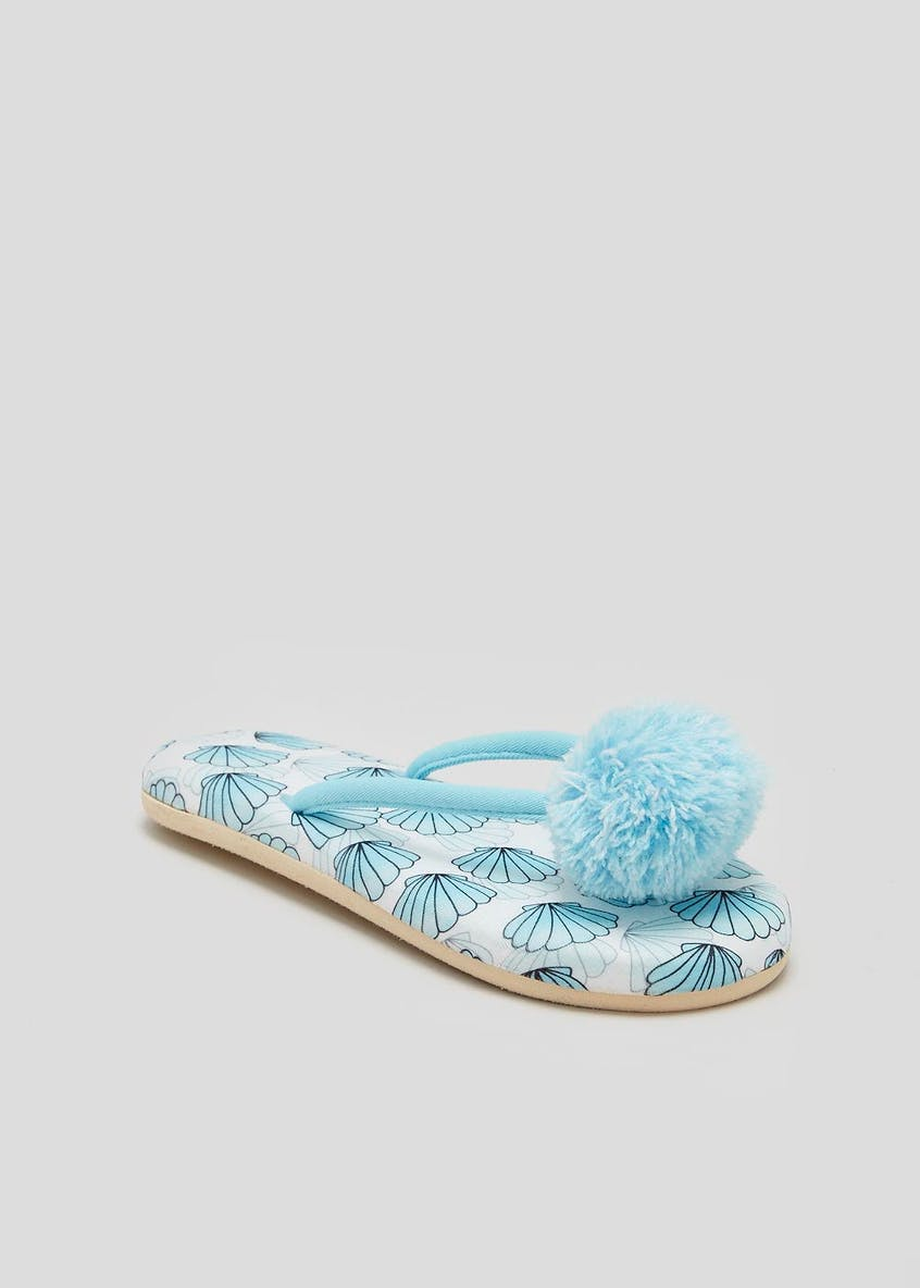 Mermaid Pom Pom Toe Post Slippers