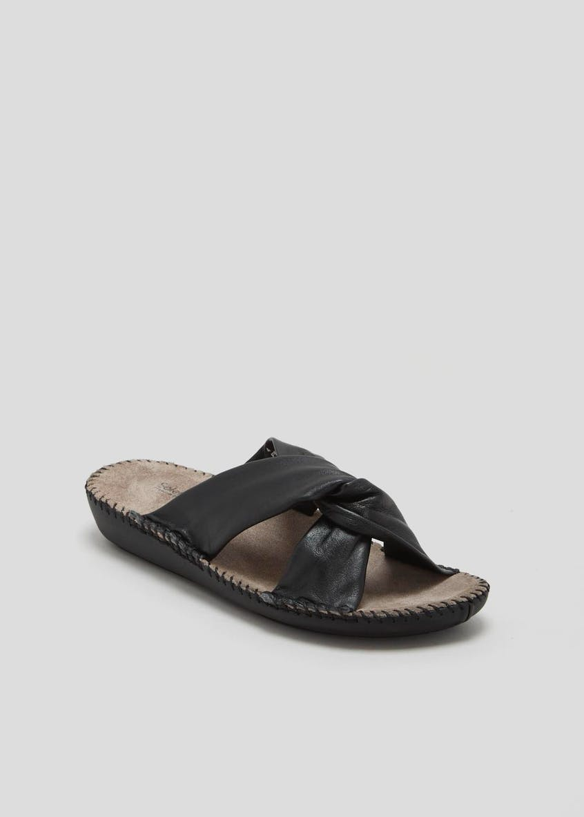 Soleflex Real Leather Knot Mule Sandals
