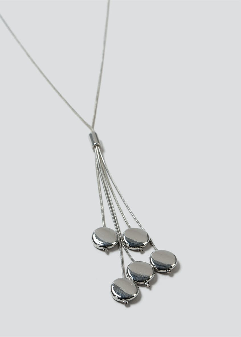 Beaded Silver Look Lariat