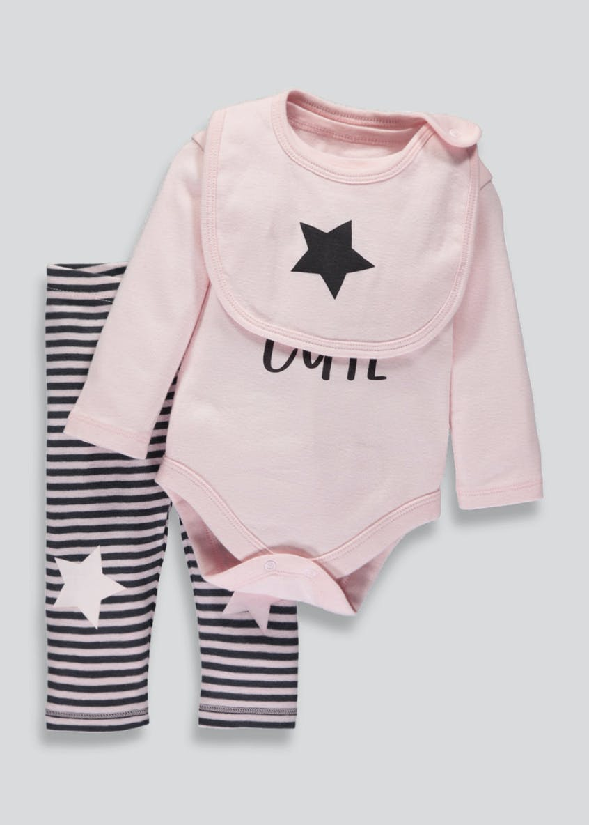 Girls Bodysuit Leggings & Bib Set (Tiny Baby-9mths)