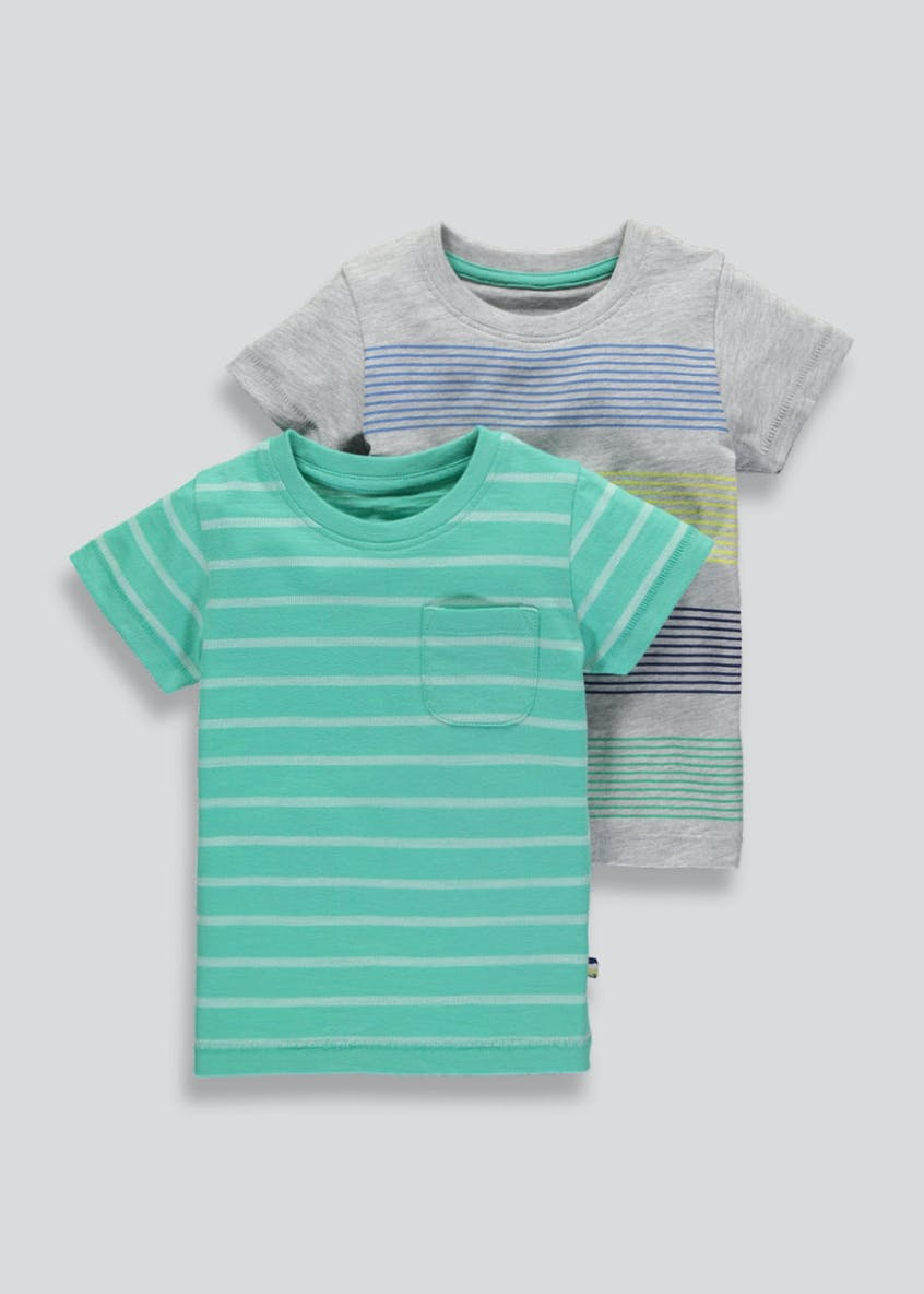 Boys 2 Pack Stripe T-Shirts (3mths-6yrs)