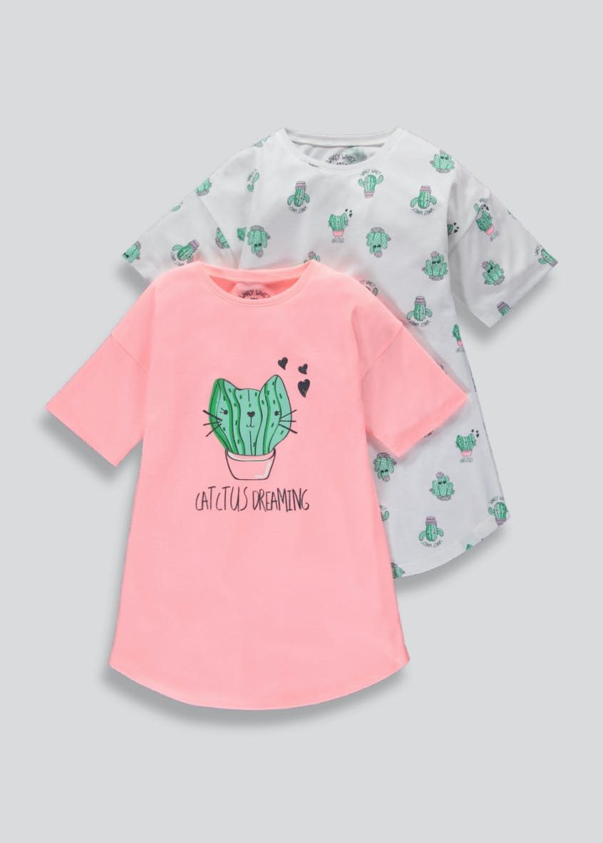 Girls 2 Pack Cactus Cat Nighties (4-13yrs)