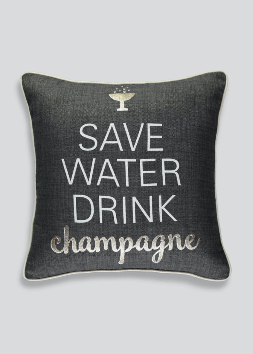Champagne Slogan Cushion (43cm x 43cm)