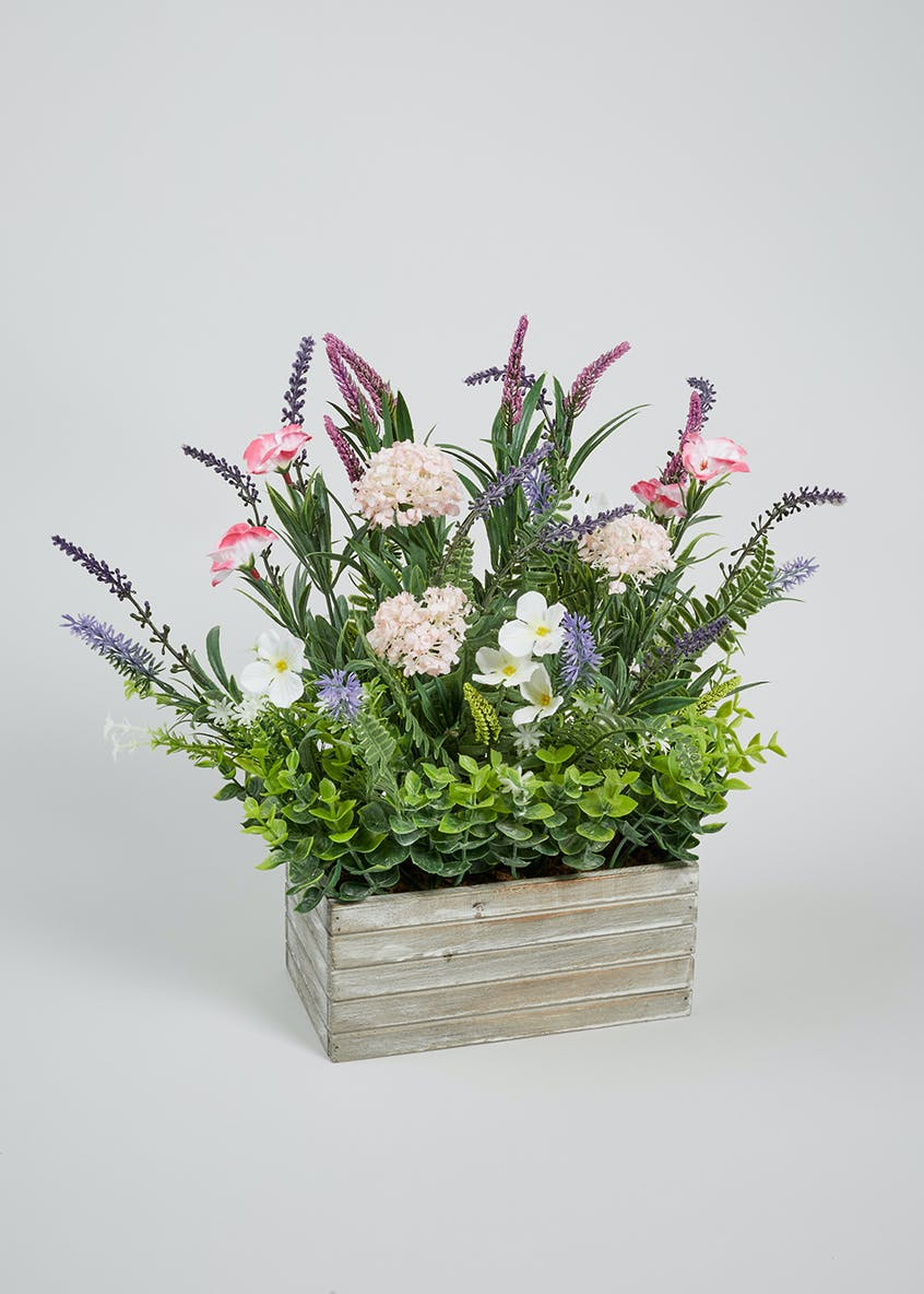 Floral Arrangement in Wooden Box (35cm x 20cm x 12cm)