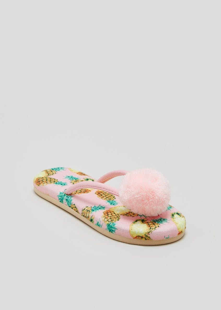 Pineapple Pom Pom Toe Post Slippers