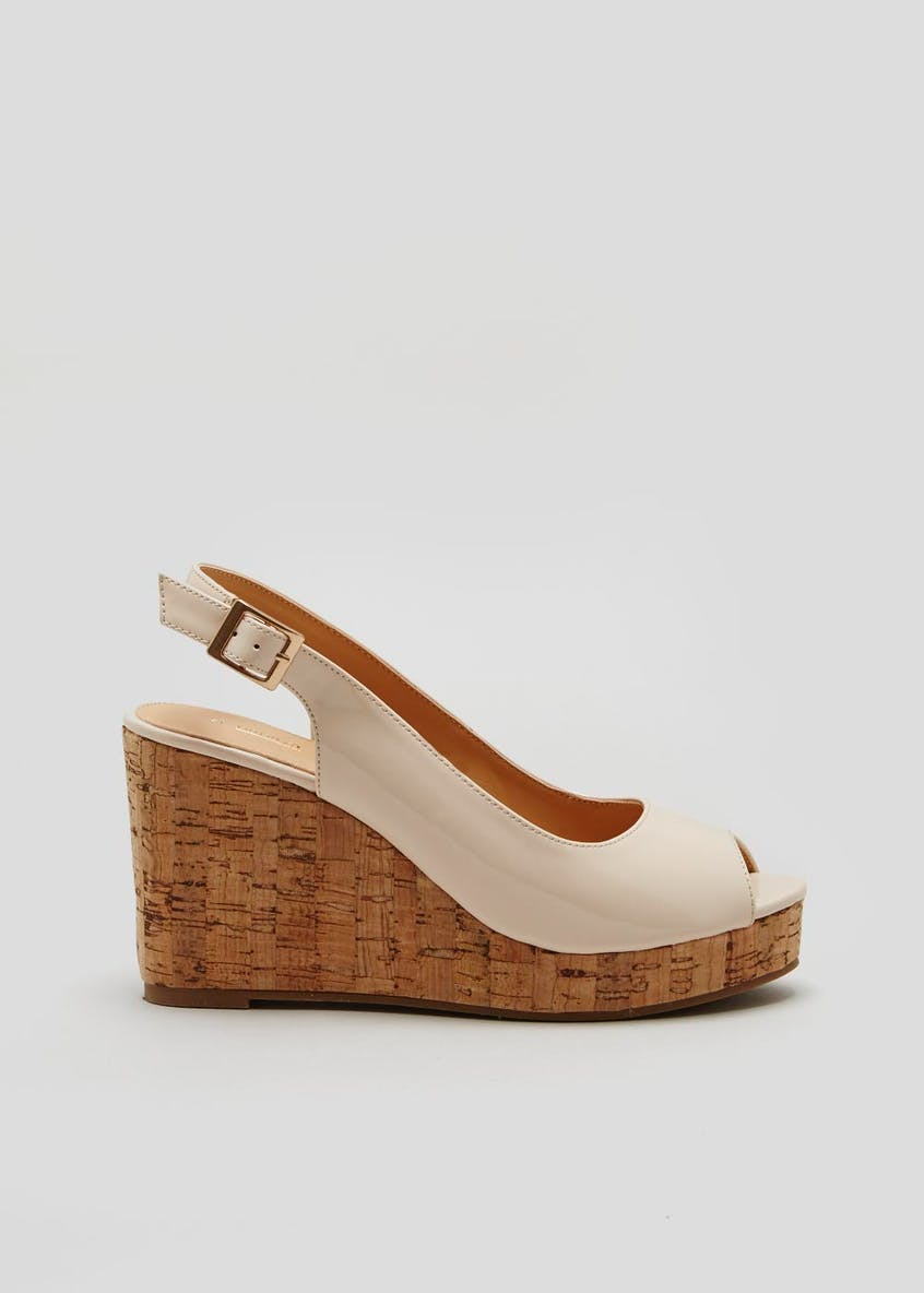 Patent Peep Toe Cork Wedges