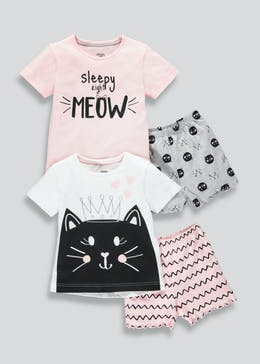 Girls 2 Pack Cat Pyjamas (9mths-5yrs)