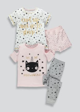 Girls 2 Pack Cat Pyjamas (4-13yrs)