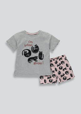 Girls Cat Short Pyjama Set (4-13yrs)
