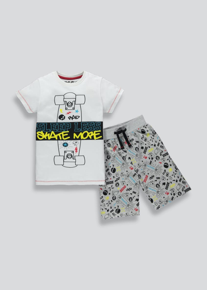 Boys Skateboard Slogan Pyjama Set (4-13yrs)