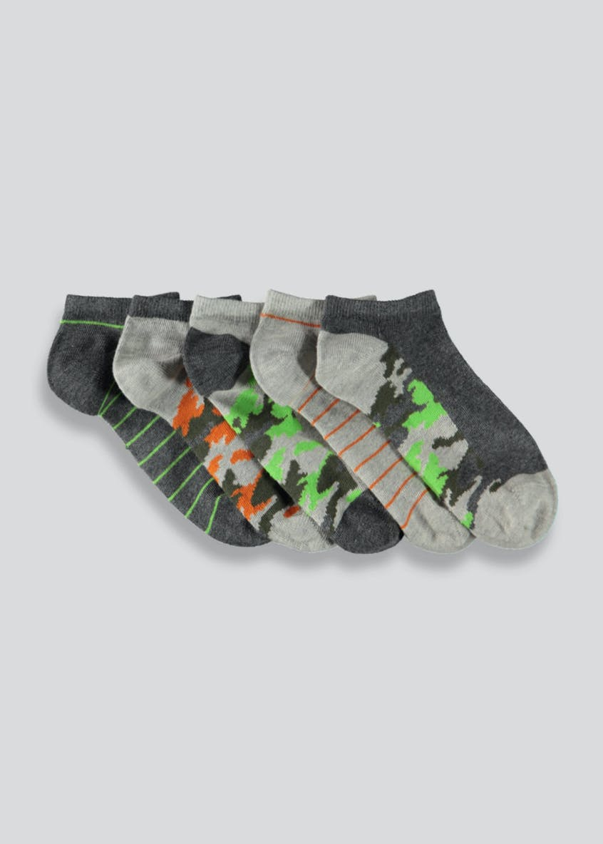 Boys 5 Pack Camo Trainer Socks (Younger Kids 6-Older Kids 6.5)
