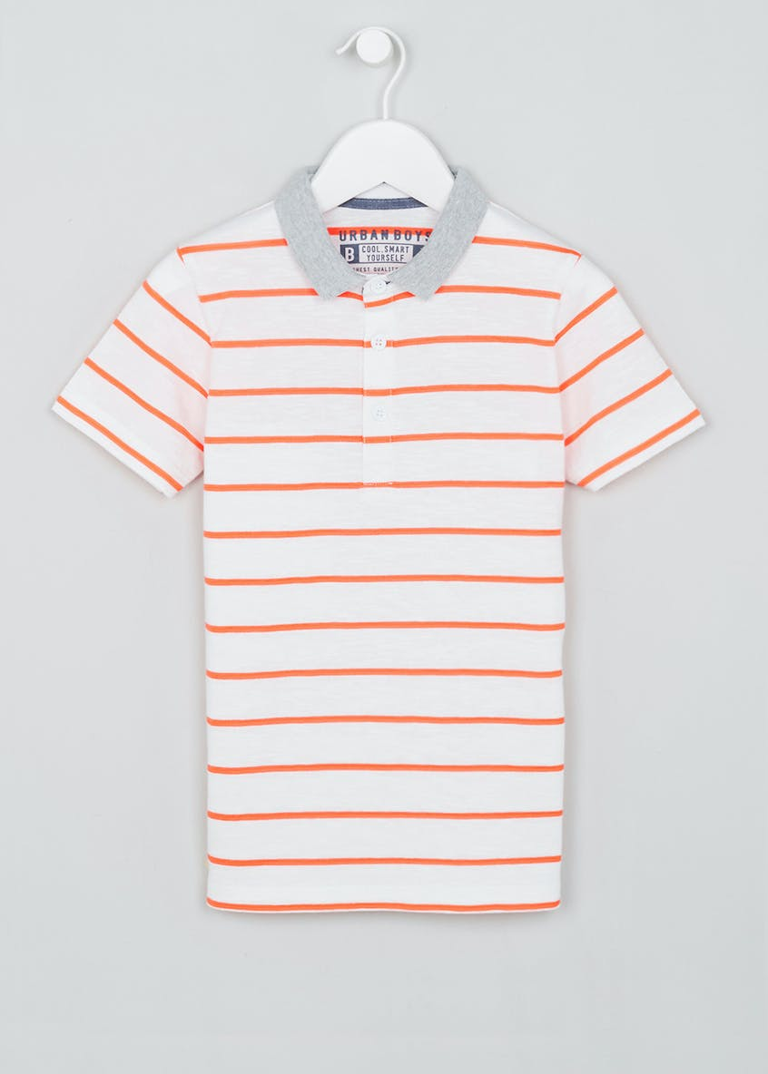 Boys Neon Stripe Polo Shirt (4-13yrs)