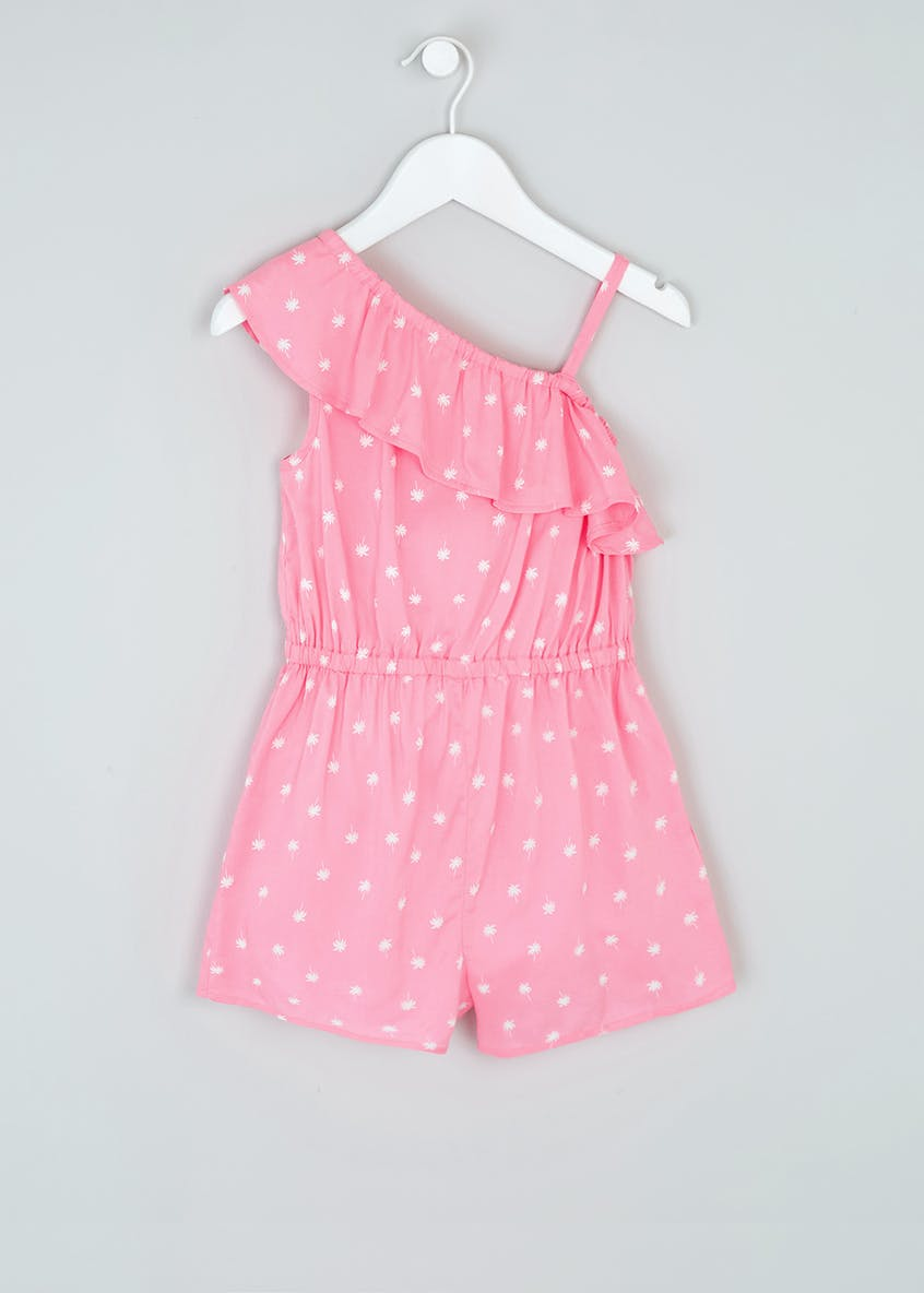 Girls Viscose One Shoulder Frill Playsuit (4-13yrs)