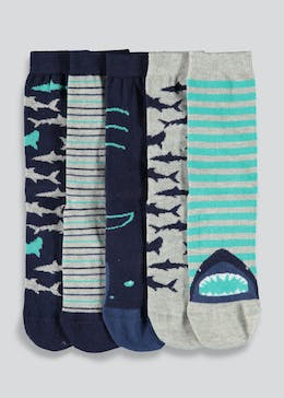 Boys 5 Pack Shark Ankle Socks (Younger Kids 6-Older Kids 5.5)