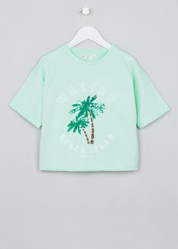 Girls Candy Couture Sequin Palm T-Shirt (9-16yrs)