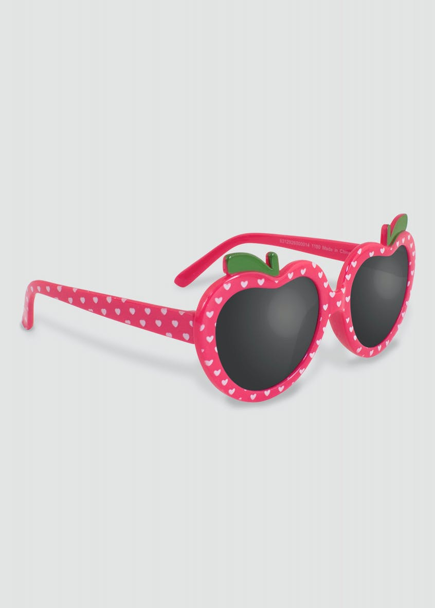 Girls Heart Shaped Apple Sunglasses (One Size)