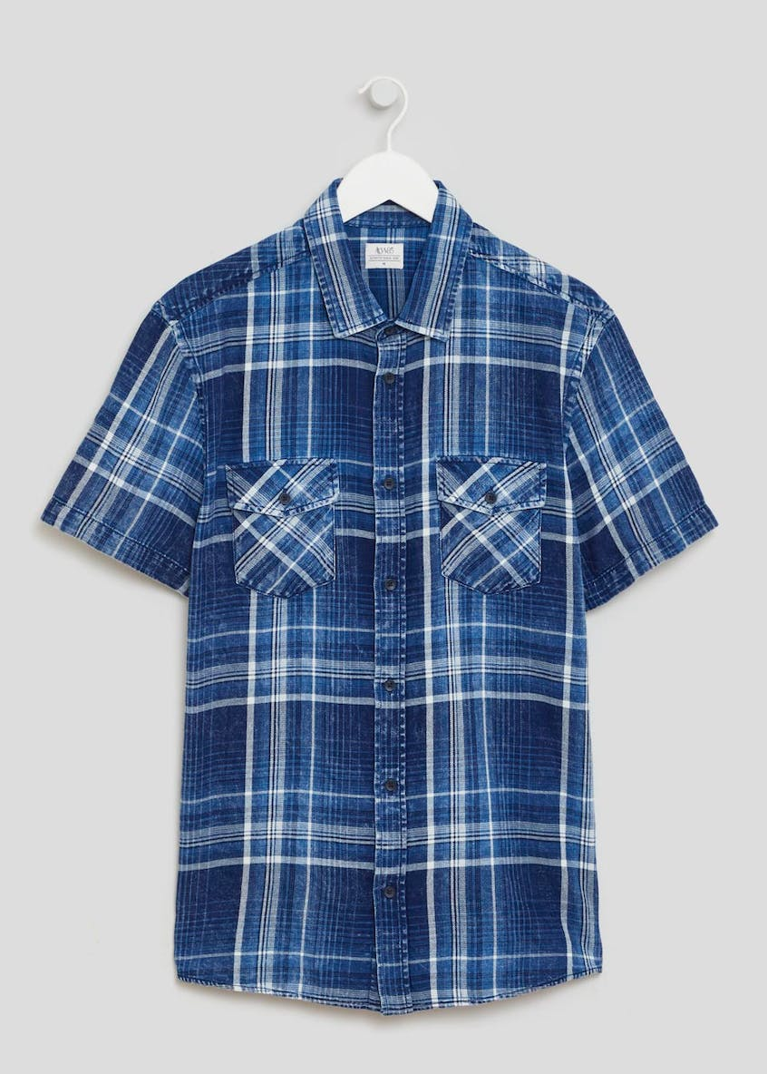 Short Sleeve Washed Check Shirt