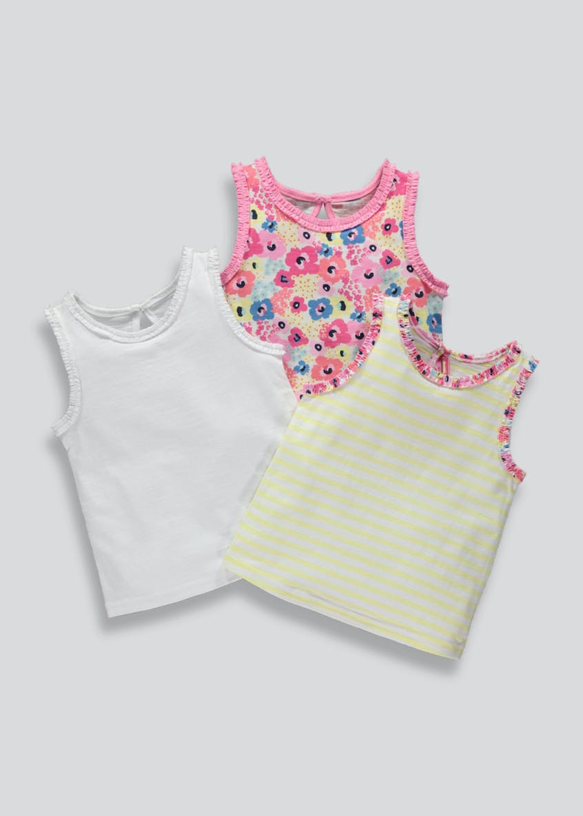 Girls 3 Pack Floral Ruffle Vests (3mths-6yrs)