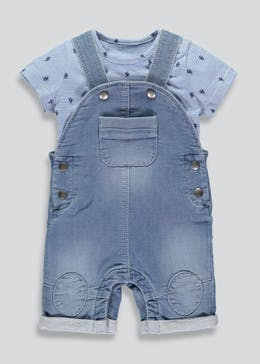 Unisex Denim Dungarees & T-Shirt Set (Newborn-18mths)