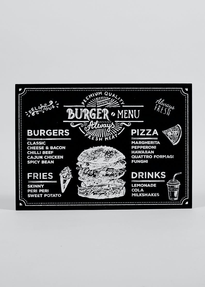 Burger Menu Plaque (35cm x 1cm x 25cm)