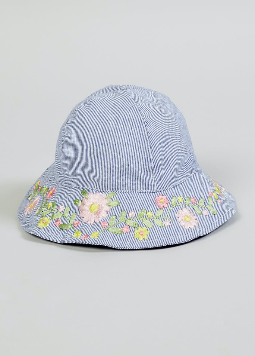Girls Floral Embroidered Stripe Hat (Newborn-23mths)
