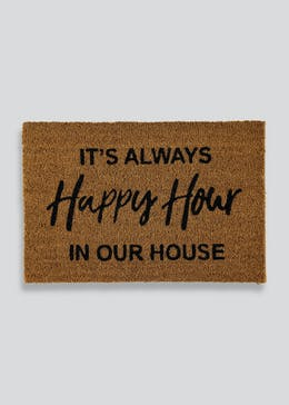 Happy Hour Slogan Coir Doormat (60cm x 40cm)
