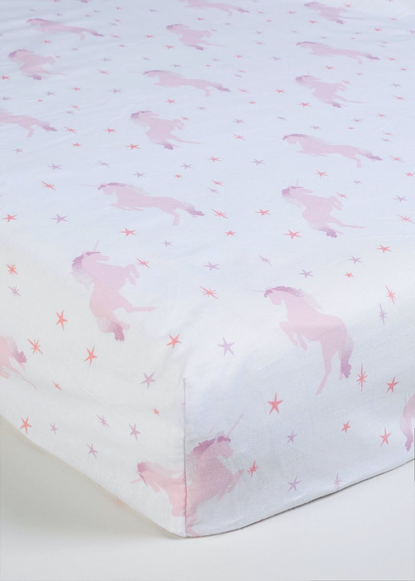 Kids 100% Cotton Unicorn Fitted Sheet (Single)