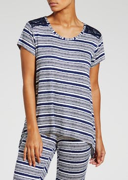 Stripe Viscose Hanky Hem Pyjama Top