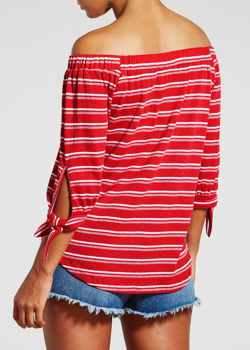 Stripe Textured Tie Sleeve Bardot Top