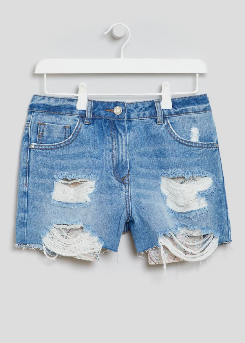 Pocket Distressed Denim Shorts