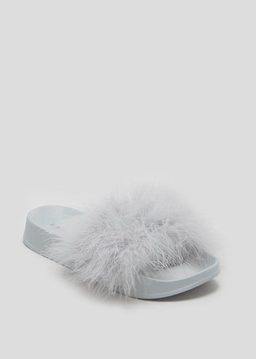 Fluffy Feather Faux Fur Sliders